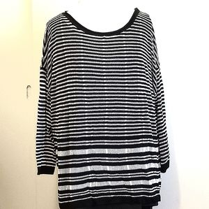 Black and White Striped Loose Knit Sweater